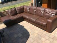 Brown leather large corner sofa