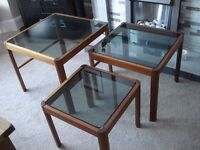 G Plan Nest of Tables with Smokey Glass tops which lift out and are not fixed