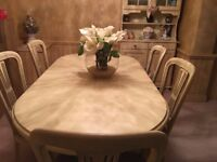 Oval 6 seater dining table and chairs