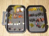 Storage Box / Carry Case of 55 Assorted Fly Fishing Flies - Wet, Dry, Nymph, Buzzers.