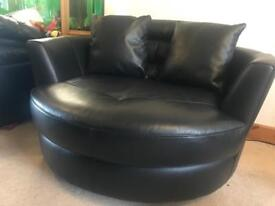 Black leather cuddle seat