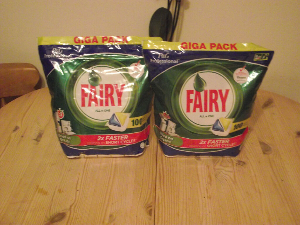 2 X Giga Packs of Fairy Dishwasher Tablets All In One 200 Capsues in totalin Heathfield, East SussexGumtree - Fairy Dishwasher Tablets All In One 200 Capsules Giga Pack 2 x 100 Pack Giga Pack 2 x 100 Packs of Fairy Dishwasher Tablets All In One 200 Capsules, Collection from Heathfield, East Sussex. I can drop off in the Uckfield, or East Grinstead area. Any...