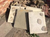 4 large old style thick concrete pavement slabs