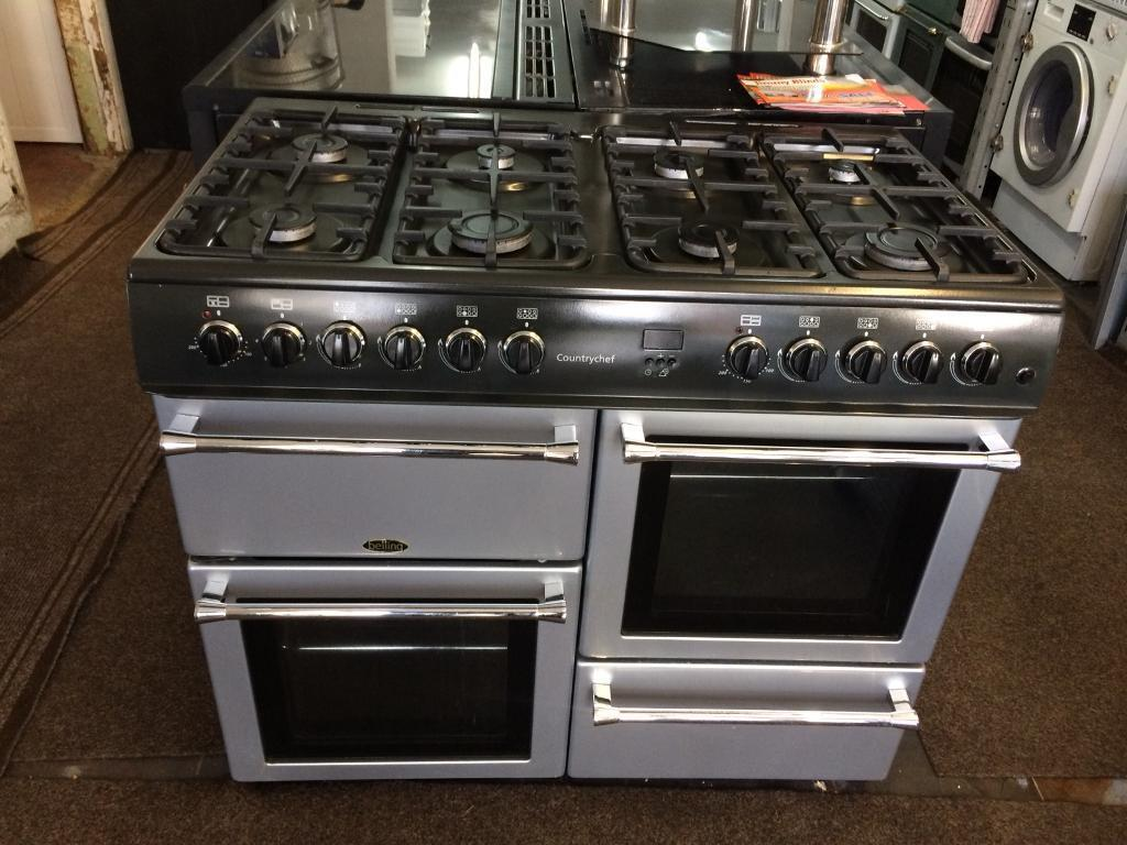 Black & silver belling eight burners gas cooker grill & double ovens good condition with guarantee