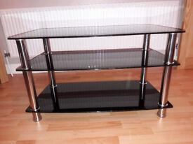 3 Shelf Universal TV Stand Black Glass