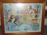 Winnie the Pooh Uplighter Lamp Shade, Latch Hook Rug & Framed Picture