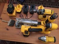 dewalt 18volt tool kit 5 batts and charger,retired joiners.