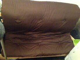 Brown double futon sofa bed