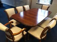 8 Seater Dining Table with Leather Chairs