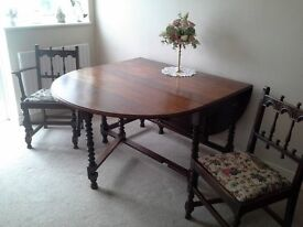 BESPOKE SOLID OAK DROP LEAF ( 2 No ) TABLE WITH 6 ERCOL CHAIRS - MEDIUM BROWN 2 ARM 4 SIDE