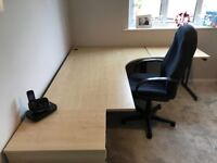 Office desk, filing cabinet and swivel chair