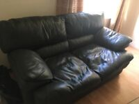 FREE! Dark green leather 2 seater sofa and one armchair