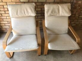 ikea POÄNG Arm chairs in Oak veneer with removable cover