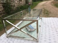 Large glass and chrome designer coffee table