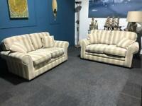 Gorgeous grey/mink stripe suite 2 seater sofas x 2