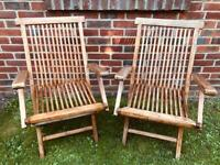 2 x Classic Wooden Folding Armchairs