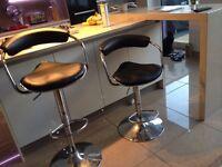 BAR STOOLS X 2 Black Faux Leather & Chrome
