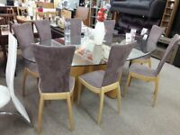 Unique Glass/Light Wood Dining Table and 8 Brown/Purple Fabric Chairs