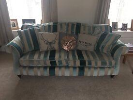 Laura Ashley large stripe fabric sofa