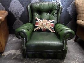 Stunning Chesterfield High Back Arm Chair Green Leather - Uk Delivery
