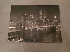 BLACK AND WHITE CANVAS OF BROOKLYN BRIDGE NEW YORK