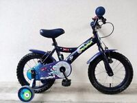 "(2553) 14"" 9"" APOLLO Boys Girls Kids Childs Bike Bicycle + STABILISERS; Age: 4-5; Height: 98-112 cm"