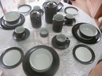 Denby Chevron Dinner/Teaset Including Coffee Pot and Tea Pot 4 setting
