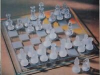 BRAND NEW UNUSED GLASS CHESS SET GLASS PLAYING PIECES & GLASS BOARD DECORATIVE OR SERIOUS PLAY