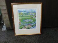 Peter Welton Signed Print ' No 1 Court at Wimbledon'