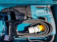Makita HR2610 3 Function SDS+ Rotary Hammer Drill 110V, 3mm Keyed Chuck and SDS Adaptor