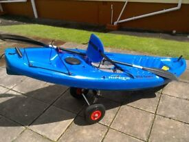 wilderness 'ripper' sit on kayak c/w good trolley and paddle (+flip up seat rest)