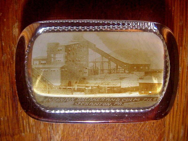 JOHNSON BREAKER & CULM PILE Scranton Pa. ANTIQUE Glass PAPERWEIGHT COAL MINING