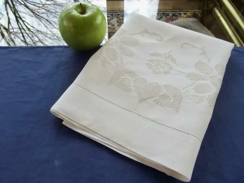Antique Pure Fine Linen Queen Pillowcase Mosaic Punto Tirato Lace Heart & Roses