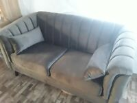 Grey velvet 2 seater sofa