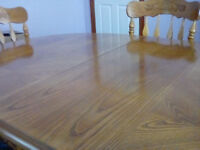 Teak dining table and six chairs