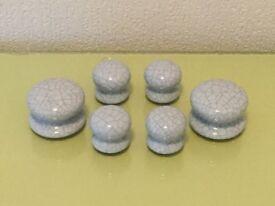 """Glazed Porcelain cupboard door / drawer knobs in blue """"crackle"""""""