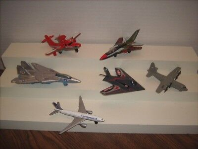 6 Diecast Metal Toy Airplanes Matchbox- Mattel tootsietoy- Search Plane-Tomcat +