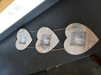Distressed Wooden Triple Heart Photo Frames