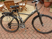 Men's Decathlon b'Twin hybrid 21 gears, front/rear suspension, linear pull brakes, adjustable stem