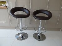 Kitchen Bar Stools Brown with Chrome Base