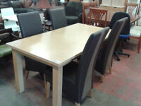 Rectangular dining table with 4 high back chairs