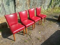 Vintage Mid Century Ben style dining chairs retro Red