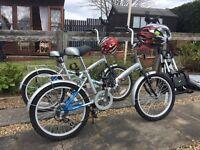 Pair of folding bicycles plus helmets