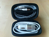Hard Storage Case With Car Charger Micro USB & Lightning Cable Silver