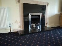 Black Granite Gas Fire Surround and Hearth