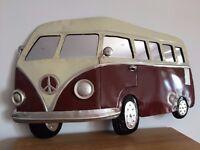 Contemporary Metal Wall Art - VW Camper Van
