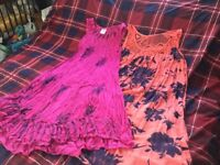 Two beautiful summer dresses freesize(12-20)Easy care