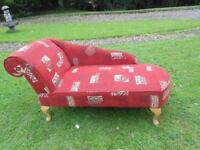 A Lovely Chaise Longue With Queen Anne Legs
