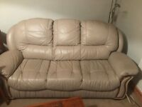 Beige Leather Three Piece Suite