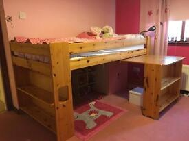 Solid Pine Mid Sleeper Cabin Bed - £95 ono